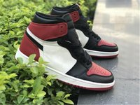 Wholesale Top High Cut Shoe Brands - 2018 Top Quality 1 1s High OG BRED TOE 555088-610 GYM RED BLACK Men Basketball Sneakers Sports Shoes BRAND NEW