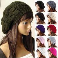 crochê de boina feminina venda por atacado-Senhora mulheres menina Inverno Quente De Malha De Crochê Desleixo Baggy Beret Beanie Hat Cap 10 cores