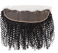 Wholesale virgin indian jerry curl hair - Brazilian Jerry Curl x4 Lace Frontal Closures Free Part Malaysian Indian Peruvian Cambodian Unprocessed Virgin Human with Baby hair