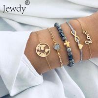 ingrosso orologio a forma di farfalla-Boho Earth Multilayer love Heart Bracciale Donna Crystal Charm Stone Beads Turtle Pendant Gold Cuff Bangles 5 PCS / Set Jewelry