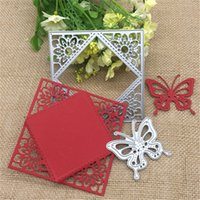 ücretsiz metal kelebekler toptan satış-2 adet çiçek kelebek kare hediye Metal Kesme Ölür Stencil Scrapbooking Fotoğraf Albümü Kart Kağıt Kabartma Zanaat DIY ücretsiz kargo