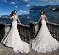 knopf durch kleider großhandel-lussano Sommer Brautkleider 2018 Transparente Langarmapplikationen Sweep Train Brautkleider mit Knopf auf der Rückseite