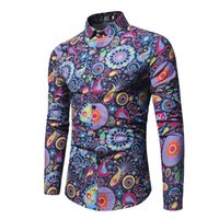 Wholesale flax clothing for sale - Fashion Trend Flower Shirt Men Spring New Print Shirt Brand Clothes Flax Casual Business Hawaiian Long Sleeve Dress Shirts