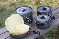 juegos de ollas de cocina de camping al por mayor-4-5 Personas Utensilios de cocina para acampar Olla para cocinar Acampar al aire libre Senderismo Picnic Utensilios para acampar Juego de ollas para cocinar Vajilla más nuevo H229Q