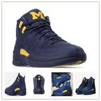 Wholesale free sporting games - with box 12 Michigan mens basketball shoes 12s Dark Grey XII Bordeaux Flu Game sports shoes athletics sneakers free shippment women trainer