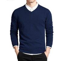 gevşek kazak toptan satış-Pamuk Kazak Erkekler Uzun Kollu Kazaklar Dış Giyim Adam V Yaka kazak Tops Gevşek Katı Fit Örme Giyim 8 Renkler Yeni
