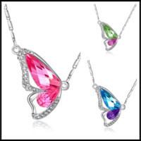 Wholesale butterfly wing pendant necklace - Fashion 9 Colors Butterfly Wings Crystal Pendants Sliver Plated Chain Swarovski Amethyst Jewelry Rhinestone Choker for Women