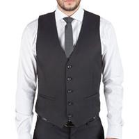 Wholesale Men S Wedding Suit Back - Custom Made Men's Black Dress Suit Vest 5 Button V Neck Adjustable Back Strap Formal Wedding Suits Vests