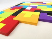 yapboz ahşap tangram toptan satış-Blokları Tuğla Oyuncaklar 40 ADET Ahşap Tangram Zeka Bulmaca Tetris Rusya Oyunu Okul Öncesi Magination Entelektüel Eğitici Çocuk Oyuncak