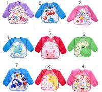 Wholesale unisex smocks wholesale - Baby Toddler Cartoon Overalls Waterproof Long Sleeve Bibs Children Kids Feeding Smock Apron Eating Clothes Burp Cloths 18 styles