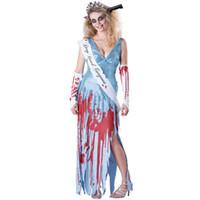 miss rose robes achat en gros de-2018 nouveau halloween avec du sang Miss concours de beauté Costume Horreur reine cadavre épouse vampire Cosplay Robe effrayant Jour des Morts
