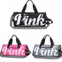 Wholesale Striped Beach Bags Wholesale - PINK Letter Handbags 3 Colors Large Capacity Travel Duffle Shoulder Bags Striped Waterproof Beach Bag Outdoor Bags OOA4893