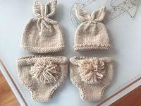 ingrosso cappelli coniglietto neonato-Cute Baby Puntelli Fotografia Accessori Baby Bunny Crochet Knitting Outfit Costume Coniglio Baby Caps Cappelli Fotografia Newborn Baby Gift