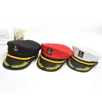 Wholesale Fancy Caps - Boat Captain Hat Navy Cap Ship Sailor Costume Party Fancy Dress Ball Caps Sea Boating Nautical Hat OOA5033