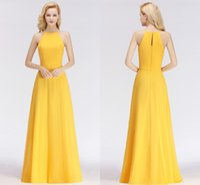 Wholesale beach bridesmaid dresses resale online - New Arrival Yellow Cheap Bridesmaid Dresses Halter Neck Backless Wedding Guest Dress Maid of Honor Gowns Brautjungfer Kleider BM0038