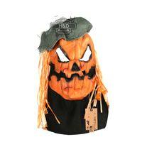 parti krikosu toptan satış-HD Jack o Fener Kabak Maskesi Cadılar Bayramı Kostüm Partisi Sahne Yetişkinler için Lateks Canavar Maskeleri