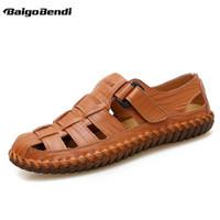 большие туфли мужские повседневная обувь оптовых-US 6-13 Big Size 45 46 47 Summer Mens Hook Loop Sandals Real Leather Casual Close Toe Outdoor Hollowed-Out Beach Shoes