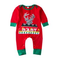 51bb56d7c69 Wholesale baby deer romper for sale - Baby girls boys Christmas deer elk print  romper cartoon