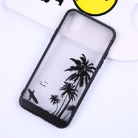 Wholesale apple tree print - Coconut tree leaves printed translucent Hard Phone Case For iPhone 5 5s se 6 6S 6plus 7 7plus 8 8s plus X customized Phone shell