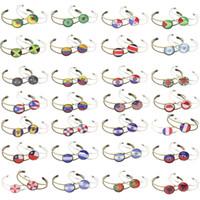 braceletes de futebol grátis venda por atacado-Se 200 pcs navio por DHL livre World Cup Bandeira Liga pulseira Pulseira Sports Wrist Strap Alloy Fivela de Futebol Fãs Cmmemorative Presente