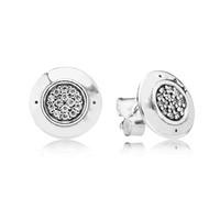 cristal de plata esterlina al por mayor-Auténtica plata de ley 925 de las mujeres con la firma del logotipo con Crystal Stud Earrings para mujeres Compatible con Pandora Jewelry