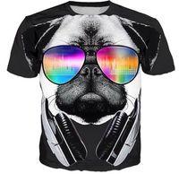 3d gözlük tasarımı toptan satış-Hayvan Gözlük Köpek Yaratıcı Tasarım T-shirt Yaz Unisex 3D Baskı Harajuku Kollu Yuvarlak Boyun T Gömlek Fanila Spor Tops
