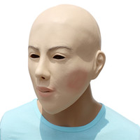 látex feminino venda por atacado-Festa de Halloween Cosplay Femalemale Máscara Facial Festa de Látex Real Humano Máscara Facial legal realista crossdress máscara