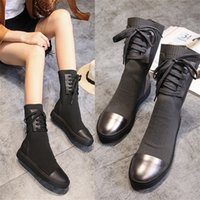Wholesale thick heel snow boot online - Discount Women Lady Snowboots Autumn Winter boots womens leather Fashion thick at the end of elastic boots Knit leisure wool boots