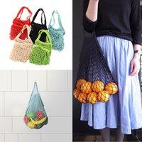 Wholesale pouches net bags - Mesh Net Shopping Bags Fruits Vegetable Portable Foldable Cotton String Reusable Turtle Bags Tote Pouch for Sundries Juice Storage Handbag