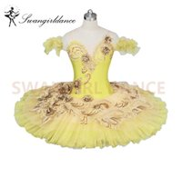 Wholesale spandex fairy costume online - Adult Canary Fairy Professional Ballet Tutu Yellow Gold Platter Plate Tutu Skirt Performance Classical Ballet Costume For WomenBT9024