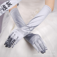 Wholesale party gloves ladies - Simple Satin Full Finger Bridal gloves For Wedding Wrist Length Sexy Long Women Formal Party Lady Wear gloves Free Shipping