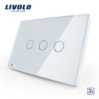 Wholesale livolo touch glass - Livolo US AU Standard 3gang Wireless remote touch light Switch, AC 110~250V, crystal white glass, VL-C303R-81,No remote controll