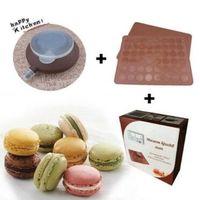 paket für makkaron großhandel-30-Cavity Gebäck-Muffin-Kuchen Macaron-Ofen-Backform-Formblatt-Mat Silikon Macaron-Backform-Satz mit Kleinpaket