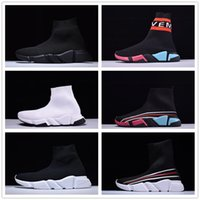 Wholesale Mens Sport Toe Socks - 2018 New Boots Paris Luxury Sock Shoes Speed Trainer Mens Women Running Shoes High Quality Black White Red Sock Race Runners Sports Sneakers