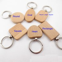 Wholesale Blank Wood Keychains - Epackfree 30pcs customize DIY Blank Wooden Key Chain Rectangle Heart Round Ellipse Carving Key ring Wood Key Chain Ring