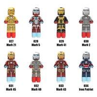 Wholesale Avengers Iron Man - Super Heroes Avengers Series Minifig Mix Lot Mark Avengers Iron Man Figure XINH027-034 Mini Building Blocks Figures