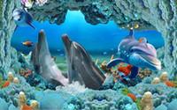 подводный дельфин оптовых-современные обои для гостиной Dolphin Underwater World 3D роспись по полу настенная роспись фото обои
