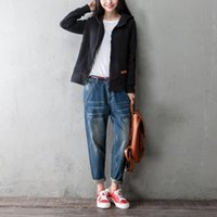 Wholesale Korean High Waist Jeans - Autumn Winter Casual Jeans for women High Waist Slim Denim Korean style Big pocket Size XXS-L