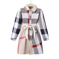 baby mädchen lange kleider großhandel-Schön 2018 Herbst Mädchen Kleid europäischen und amerikanischen langärmeligen Bogen klassischen karierten Baumwollkleid Baby Strickjacke Kleid