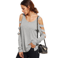 Wholesale Shoulder Cut Shirts - Tshirts Grey T Shirt Women Long Sleeve Cold Shoulder Tops Spring Loose Tees Sexy Ladies Round Neck Cut Out T-shirt