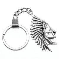 ingrosso anelli paio indiani-6 pezzi Portachiavi Donna Portachiavi Coppia Portachiavi per chiavi Indian Chief Primal Tribal Chieftain 55x28mm