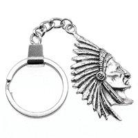indische paar ringe großhandel-6 Stücke Schlüsselanhänger Frauen Schlüsselanhänger Paar Keychain Für Schlüssel Indian Chief Primal Tribal Chieftain 55x28mm