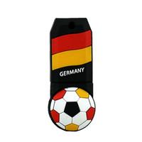 usb bayrağı toptan satış-Ücretsiz Nakliye 2018 Dünya Kupası Karikatür Futbol Bayrak 16G 32G USB 2.0 Flash Sürücüler Futbol Almanya Ekibi Hayranları H ...