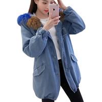 ingrosso coreano hoodie blu-Coreano elegante slim plus cotone addensare denim trench coat con cappuccio in pelliccia moda inverno cappotti lunghi per le donne 2018 soprabito blu