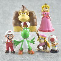 Wholesale green girl figures for sale - Group buy Super Mario Bros Luigi Mushroom Toad Princess Action Figure Miniatures Garage Kit Fun PVC Gift Toys For Kid lt W
