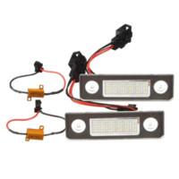 partes de skoda al por mayor-MALUOKASA 2X White Canbus Error Free LED matrícula luz de la cola del coche luces de señal de la lámpara para Skoda Octavia Roomster 5J auto parte
