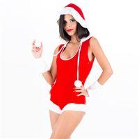 hoodie de poliéster sem mangas venda por atacado-Sexy Red Velvet Bodysuit de Natal Traje Sem Mangas de Natal Santa Cosplay Uniforme com Hoodies Night Club Wear