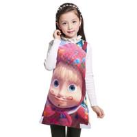 bebek kızı elbisesi toptan satış-Karikatür Masha Ve Ayı Çocuklar kız Parti Elbise Yaz kolsuz Çocuk Giysileri Yeni 2017 Bebek Kız elbise prenses 3-12Y