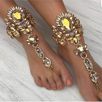 Wholesale white gold chain anklets online - 2018 New Fashion Bridal Hands Ankle Bracelet Chain Beach Vacation Sexy Leg Chain Female Crystal Anklet Foot Jewelry Pie Leg Luxurious