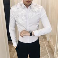 largos vestidos de noche sexy al por mayor-Calidad Sexy Lace Patchwork Tuxedo Otoño Nuevo 2018 Slim Fit Camisa de manga larga Casual Night Club Party Camisas de vestir Hombres 3XL-M